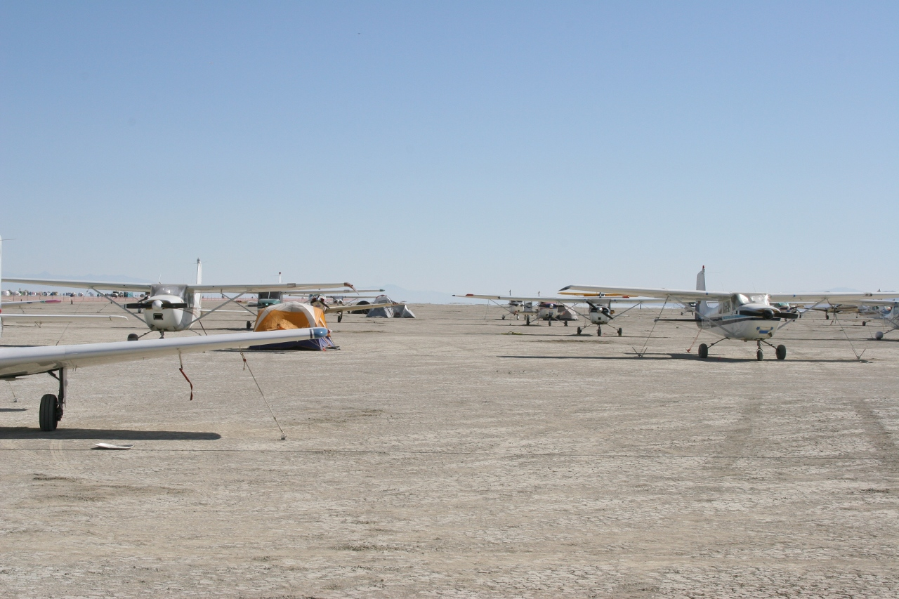 planes parked at Burning Man